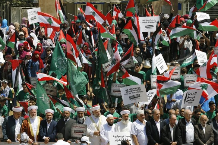 Palestinians and their supporters in Lebanon, protesting against the Bahrain deal of the century conference, on June 25, 2019 ap